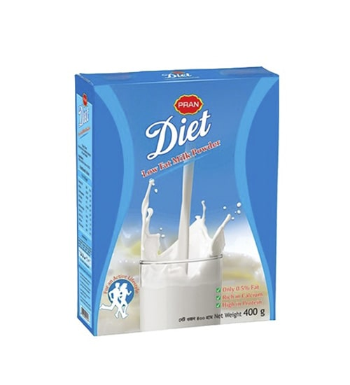 Pran Diet Non Fat Milk Powder Box 400gm-min