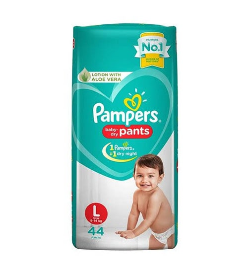 pampers baby dry lotion with aloe vera pants diaper large 9 14 kg 44 pieces