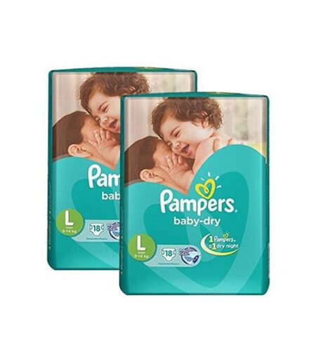 pampers tapes large 18s diaper economy pack 9 14 kg 2 pieces combo